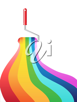 Royalty Free Clipart Image of a Rainbow Painting Roller