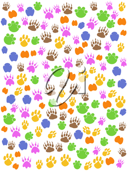 Royalty Free Clipart Image of Animals Footprints