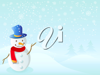 Royalty Free Clipart Image of a Snowman Background
