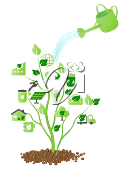 Royalty Free Clipart Image of Green Ecology Icons