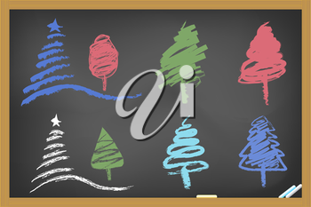 Royalty Free Clipart Image of Christmas Trees on a Chalkboard