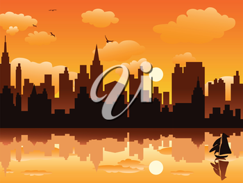 Royalty Free Clipart Image of a City at Sunset