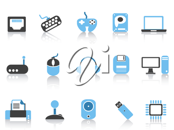isolated Computer & Devices icons set blue series from white background