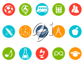 isolated education button icons set from white background