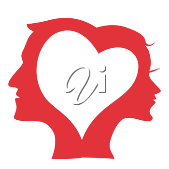 isolated Man and Woman head Silhouette in love heart from white background