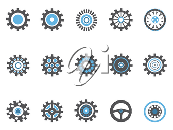 isolated blue gear and cog icons set on white background