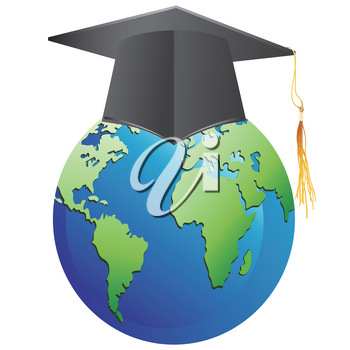 isolated graduation cap on earth from white background