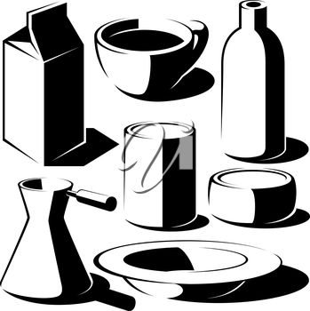 Royalty Free Clipart Image of Food and Drink Elements
