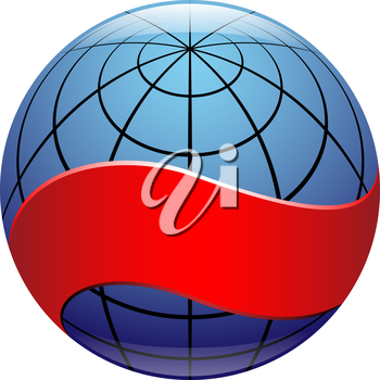 Royalty Free Clipart Image of a Globe With a Red Band