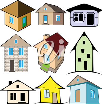 Royalty Free Clipart Image of a Set of Houses