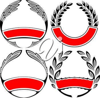 Royalty Free Clipart Image of a Laurel Wreath Set