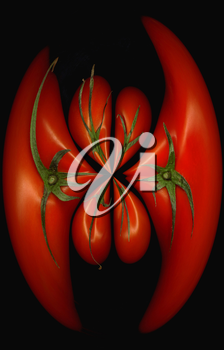 fresh tomatoes on black background round distortion effect
