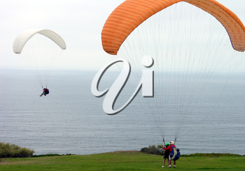 Royalty Free Photo of Two Paragliders by the Ocean