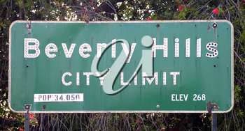 Royalty Free Photo of The City Limits Sign In Beverly Hills
