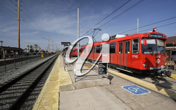 Royalty Free Photo of a Red Trolley