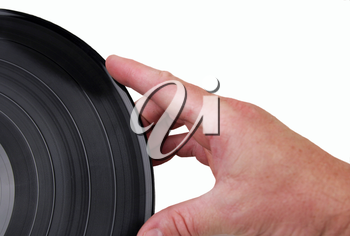 Royalty Free Photo of a Man Holding a Vinyl Record