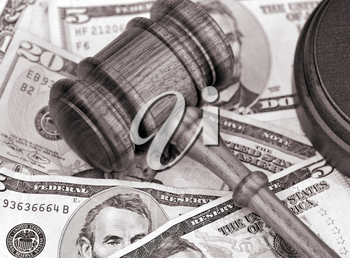 Royalty Free Photo of a Gavel and American Currency