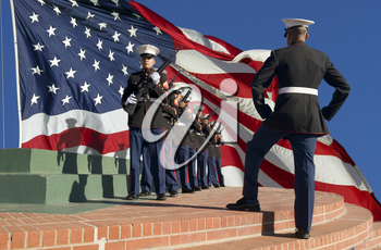 Royalty Free Photo of a Marine Rifle Squad at a Ceremony