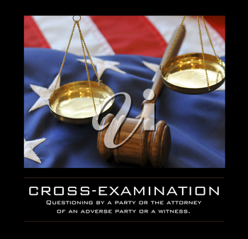 Royalty Free Photo of a Gavel, Scales and American Flag