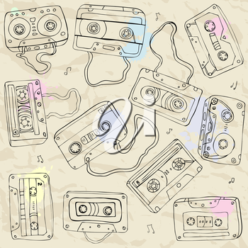 Royalty Free Clipart Image of a Cassette Tape Background