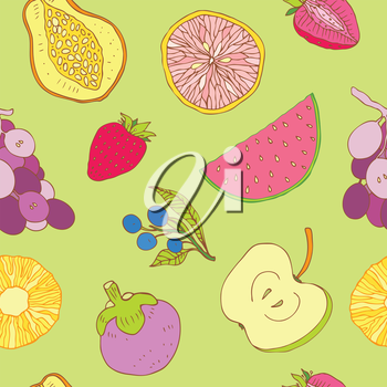 Multi colored Seamless fruits background. Vector illustration