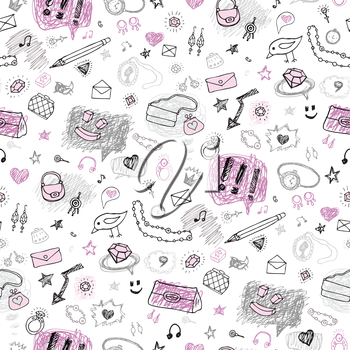 Accessories Grunge background. Set of elements signs and symbols. Hand drawn seamless pattern.