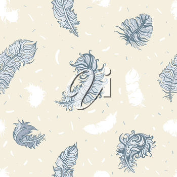 Vintage Feathers seamless background. Hand drawn illustration