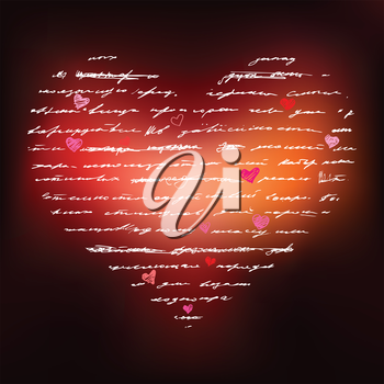 Heart of Handwriting text. Abstract background Vector Illustration