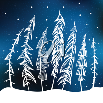 Fir Trees in snow forest. Vintage Background. Vector Illustration.