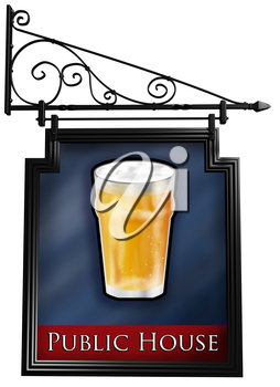 Royalty Free Clipart Image of an Isolated Antique Style Pub Sign
