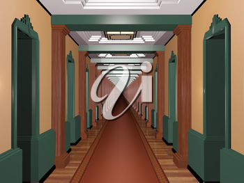 Royalty Free Clipart Image of a Very Long Corridor