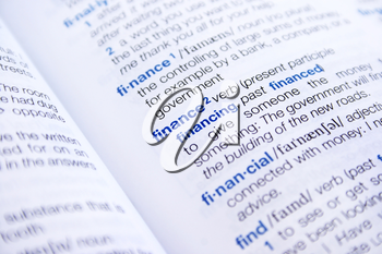 Royalty Free Photo of the Words Finance and Financial in a Dictionary