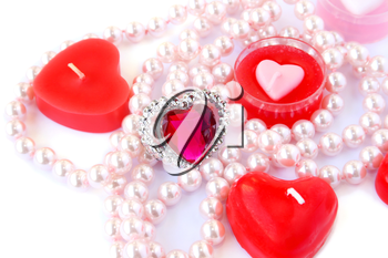 Royalty Free Photo of Candles and Jewelry
