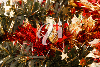 Christmas garland as a background.