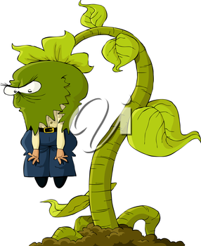 Royalty Free Clipart Image of a Carnivorous Plant Devouring a Human