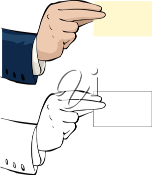 Royalty Free Clipart Image of a Hand with a Business Card