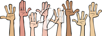 Royalty Free Clipart Image of Hands Up