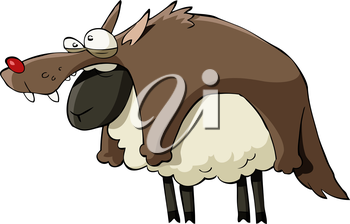 Royalty Free Clipart Image of a Sheep in Wolves Clothing