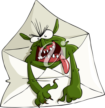 Cartoon spam in the envelope, vector illustration
