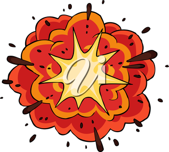 Fiery explosion on white background vector illustration