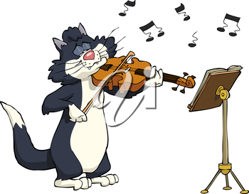Cartoon cat playing the violin vector illustration