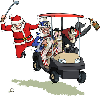 Festive golf party on a white background vector illustration
