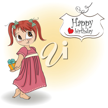 Royalty Free Clipart Image of a Little Girl With a Present on a Happy Birthday Greeting