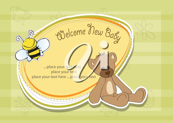 Royalty Free Clipart Image of a Baby Shower Card With a Bear and Bee