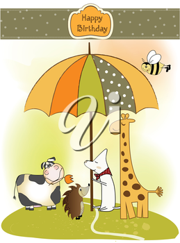 Royalty Free Clipart Image of a Birthday Card With Animals