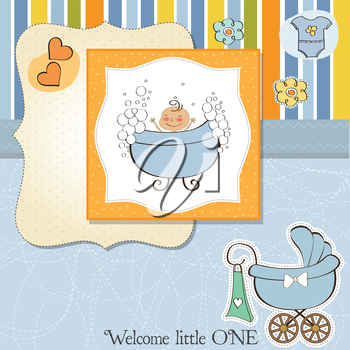 Royalty Free Clipart Image of a Baby Boy in a Bathtub and a Carriage in the Bottom Corner