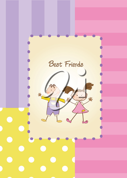 Royalty Free Clipart Image of a Best Friends Background
