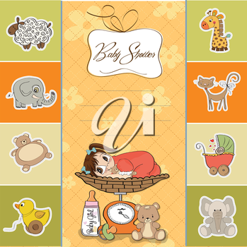 Royalty Free Clipart Image of a Baby Girl on a Shower Invitation