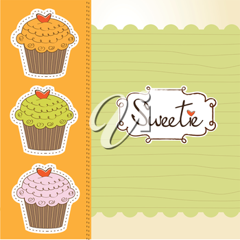 Royalty Free Clipart Image of a Cupcake Background