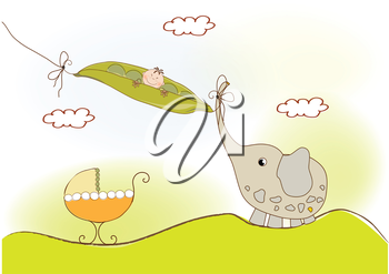 Royalty Free Clipart Image of a Baby in a Pea Pod With an Elephant and Buggy